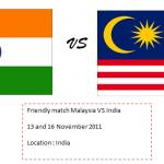 Senarai pemain Malaysia vs India, friendly match (13-16 November 2011)