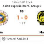 Malaysia tewas 1-0 bahrain kelayakkan piala asia 2015, 15 november 2013