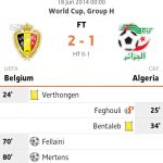 Keputusan vs belgium vs algeria 18 jun 2014