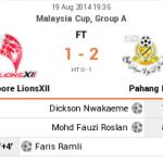 Keputusan lions xii vs pahang 19/08 piala malaysia 2014