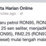 Harga rasmi minyak ron 95, 97, diesel berkuatkuasa 1 mac 2015