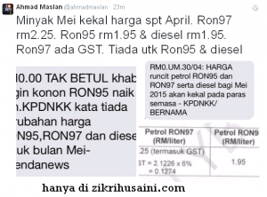 harga minyak, harga minyak ron 95 97 diesel sama ,