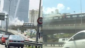lrt terbakar stesen universiti
