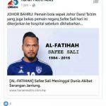 Safee sali meninggal dunia, berita palsu lagi di media sosial!