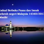 Jadual berbuka puasa, imsak 1434/2013 M seluruh negeri, Malaysia