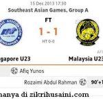Malaysia u23 ikat singapura u23 1-1, bolasepak sukan sea 2013