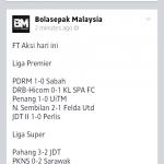 Keputusan penuh liga super dan liga perdana 7feb 2014