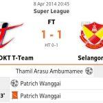 Keputusan t-Team vs selangor dan carta terkini liga super 08.04.2014