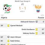 Keputusan perlawanan Algeria vs Russia 27.06.2014