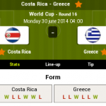Keputusan greece vs costa rica 30.06.2014