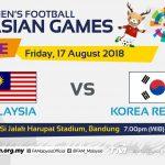 Live streaming Malaysia u23 vs Korea Selatan u23 asian games 17.8.2018