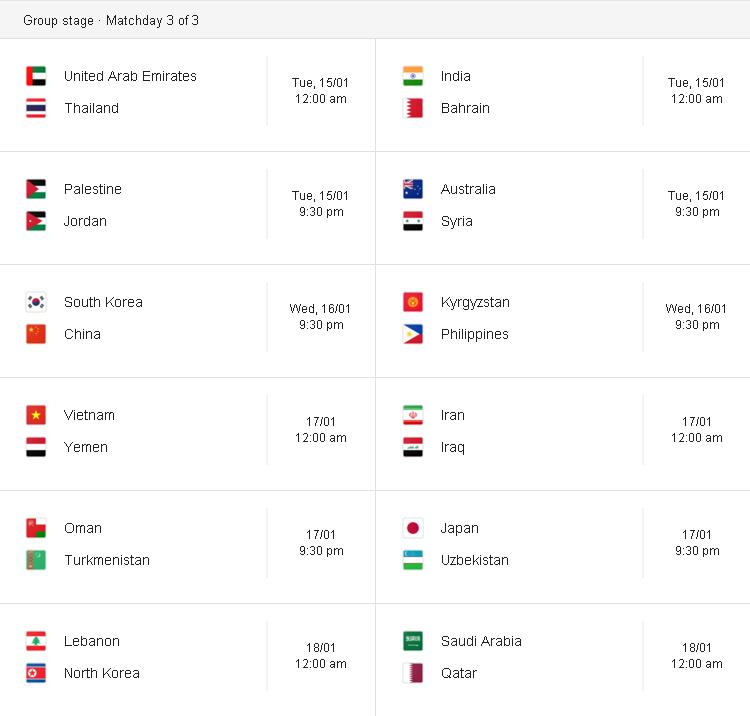jadual perlawanan piala asia afc 2019