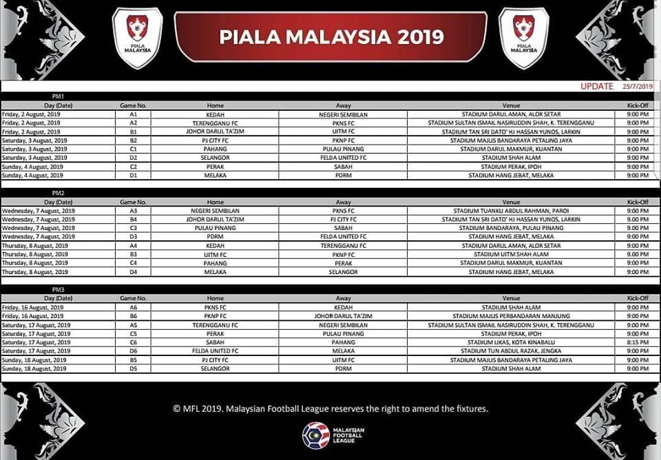 jadual piala malaysia 2019,